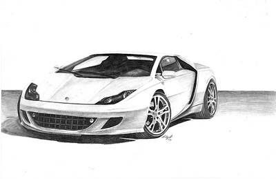 Super Cars Drawing - 2008 Lotus Esprit Concept by Mickey Chaney