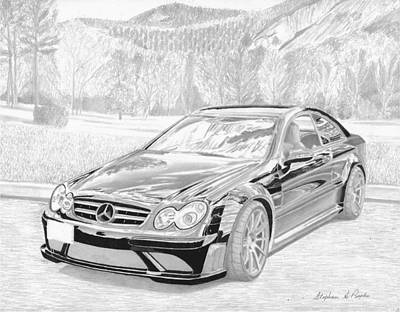 Automotive Art Series Wall Art - Drawing - 2008 Mercedes Benz Clk63 Black Series Sports Car Art Print by Stephen Rooks