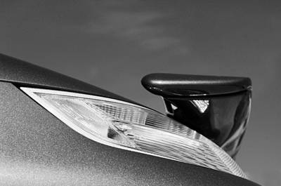 2008 Photograph - 2008 Porsche Turbo Cabriolet Tail Fin Black And White by Jill Reger