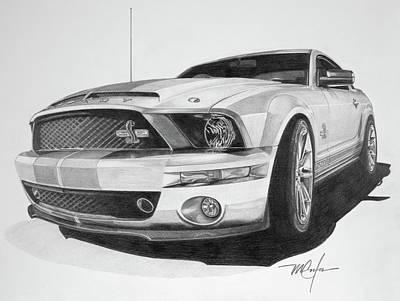 Drawing - 2008 Shelby Cobra 40th Anniversary 1968-2008 by Dan Menta