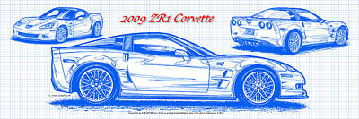 2009 C6 Zr1 Corvette Blueprint Art Print