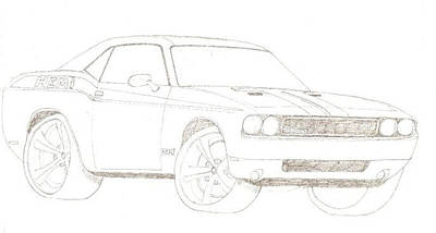 Challenger Drawing - 2009 Dodge Challenger by David Fields