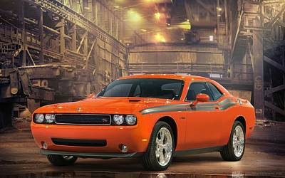 Challenger Digital Art - 2009 Dodge Challenger Rt Classic  by Anne Pool