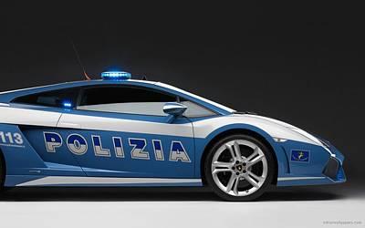 Police Car Digital Art - 2009 Lamborghini Police Car Wide by F S