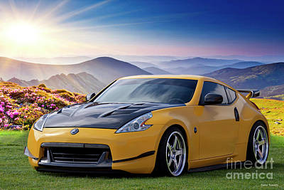 Queen Rights Managed Images - 2009 Nissan 370Z Sports Coupe Smokey Mountains Royalty-Free Image by Dave Koontz