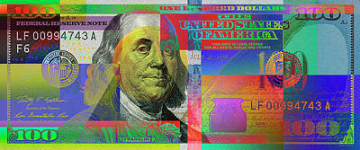 Digital Art -  2009 Series Pop Art Colorized U. S. One Hundred Dollar Bill No. 1 by Serge Averbukh