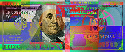 2009 Digital Art -  2009 Series Pop Art Colorized U. S. One Hundred Dollar Bill No. 1 by Serge Averbukh