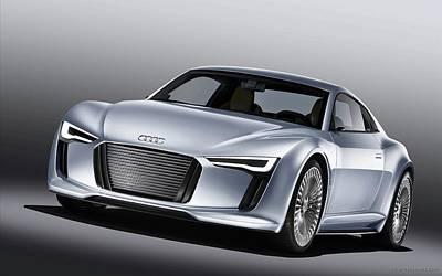 Tron Digital Art - 2010 Audi E Tron 4 Wide by F S