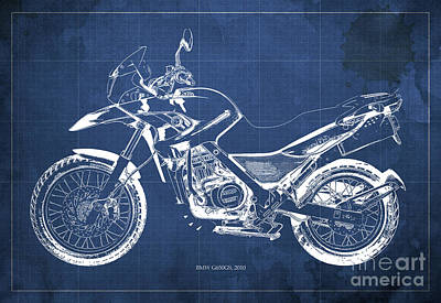 2010 Bmw G650gs Vintage Blueprint Blue Background Print by Pablo Franchi