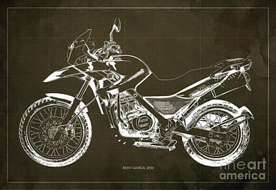 2010 Bmw G650gs Vintage Blueprint Brown Background Art Print