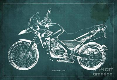 2010 Bmw G650gs Vintage Blueprint Green Background Art Print