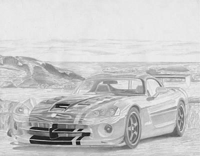 2010 Dodge Viper Acr Sports Car Art Print Original by Stephen Rooks