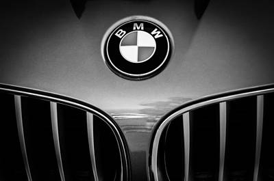 Photograph - 2011 Bmw Emblem -0318bw by Jill Reger
