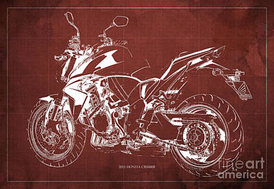 Motorcycle Painting - 2011 Honda Cb1000r Classic Motorcycle Blueprint For Father's Day Red Background by Pablo Franchi
