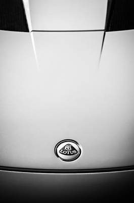 Photograph - 2011 Lotus Evora S Hood Emblem -0592bw by Jill Reger