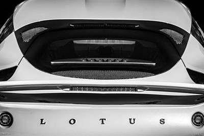 Photograph - 2011 Lotus Evora S Taillight Emblem -0599bw by Jill Reger