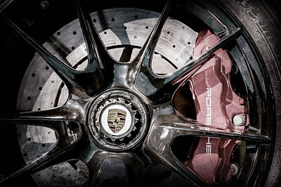 2011 Porsche 997 Gt3 Rs 3.8 Wheel Emblem -0989ac Art Print by Jill Reger