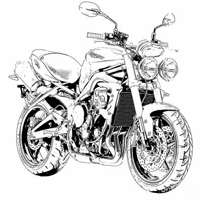 Bike Drawing - 2011 Triumph Street Triple, Black And White Motorcycle by Pablo Franchi