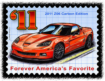 Special Edition Corvettes Drawing - 2011 Z06 Carbon Edition Corvette by K Scott Teeters