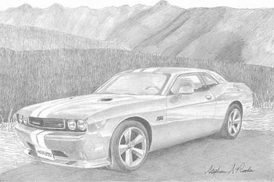 Challenger Drawing - 2012 Dodge Challenger Srt8 Classic Car Art Print by Stephen Rooks