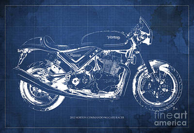 Motorcycle Drawing - 2012 Norton Commando 961 Cafe Racer Motorcycle Blueprint - Blue Background by Pablo Franchi
