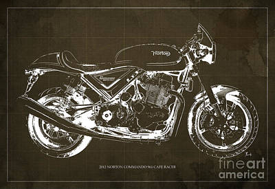 Racer Painting - 2012 Norton Commando 961 Cafe Racer Motorcycle Blueprint - Brown Background by Pablo Franchi