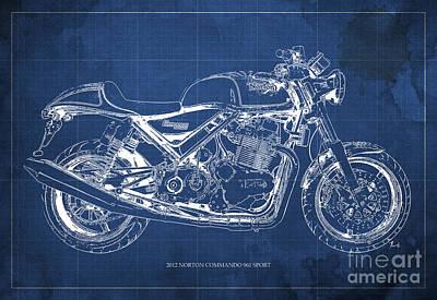 Norton Drawing - 2012 Norton Commando 961 Sport Blueprint Classic Motorcycle Blue Background by Pablo Franchi