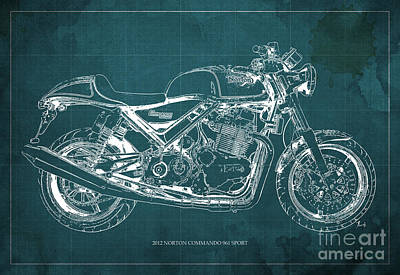 Personalized Painting - 2012 Norton Commando 961 Sport Blueprint Classic Motorcycle Green Background by Pablo Franchi