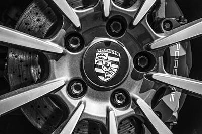 Photograph - 2012 Porsche Carrera 4 Co Wheel Emblem -0043bw by Jill Reger