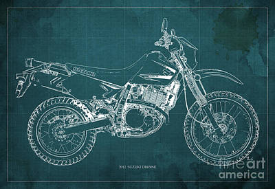 Blueprint Drawing - 2012 Suzuki Dr650se Motorcycle Blueprint Green Background Awesome Gift For Men by Pablo Franchi