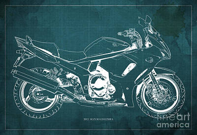 2012 Suzuki Gsx1250fa Motorcycle Blueprint Green Background Awesome Gift For Men Art Print
