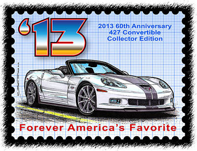 Special Edition Corvettes Drawing - 2013 60th Anniversary 427 Convertible Corvette by K Scott Teeters