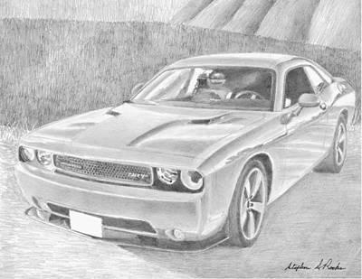 Challenger Drawing - 2013 Dodge Challenger Srt8 Classic Car Art Print by Stephen Rooks