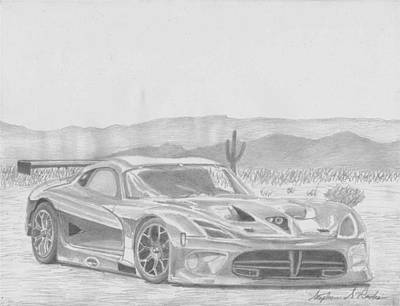 Viper Drawing - 2013 Dodge Viper Gts-r Sports Car Art Print by Stephen Rooks