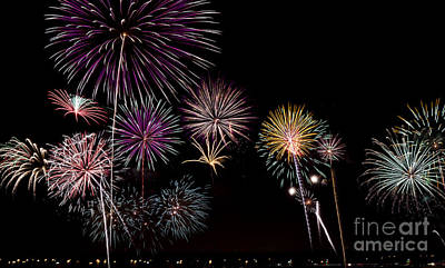 2013 Fireworks Over Alton Art Print by Andrea Silies