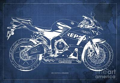 2013 Honda Cbr600rr Blueprint, Blue Vintage Background, Gift For Him Art Print by Pablo Franchi