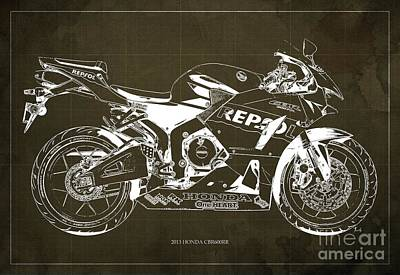 2013 Honda Cbr600rr Blueprint, Brown Vintage Background, Gift For Him Art Print by Pablo Franchi