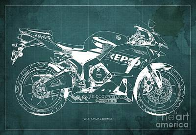 2013 Honda Cbr600rr Blueprint, Green Vintage Background, Gift For Him Art Print