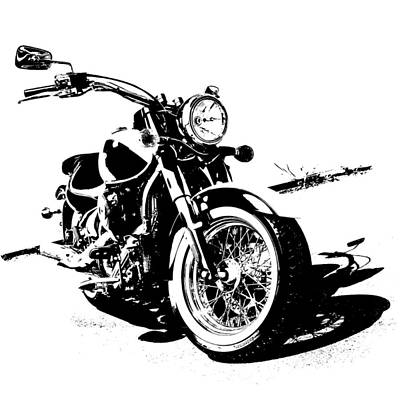 Monotone Drawing - 2013 Kawasaki Vulcan Classic Graphic by Melissa Smith