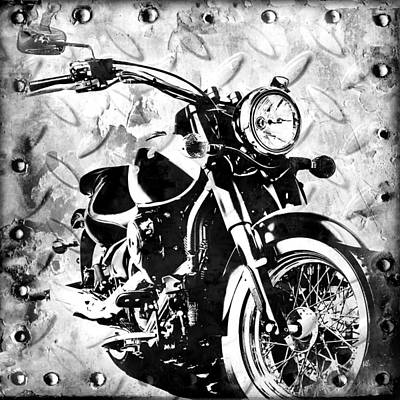 Chrome Digital Art - 2013 Kawasaki Vulcan Monotone by Melissa Smith