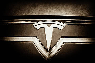 Photograph - 2013 Tesla Model S Emblem -0122s1 by Jill Reger