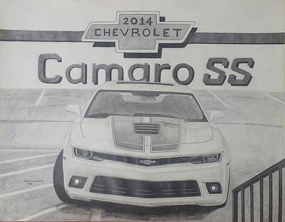 Super Cars Drawing - 2014 Chevrolet Camaro Ss by Henry Hargrove Jr