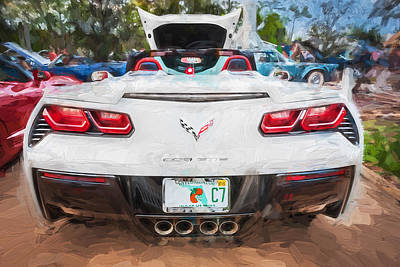 Photograph - 2014 Chevrolet Corvette C7 Painted Bw  by Rich Franco
