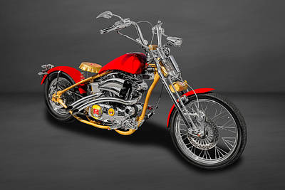 Photograph - 2014 Custom Built Harley Davidson Springer Motorcycle  -  14hdcusp1 by Frank J Benz