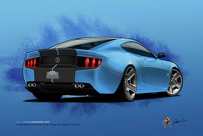Digital Art - 2014 Stang Rear by Doug Schramm