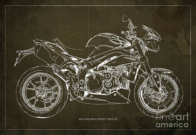 2014 Triumph Street Triple R Motorcycle Blueprint For Man Cave Brown Background Art Print by Pablo Franchi