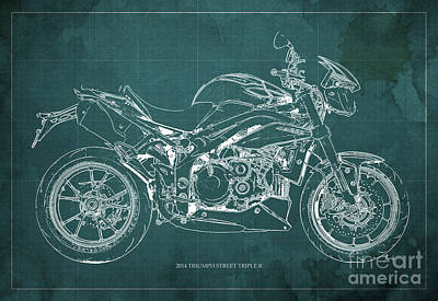2014 Triumph Street Triple R Motorcycle Blueprint For Man Cave Green Background Art Print by Pablo Franchi