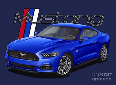 Best Sellers - Transportation Digital Art - 2015 Blue Mustang by Paul Kuras