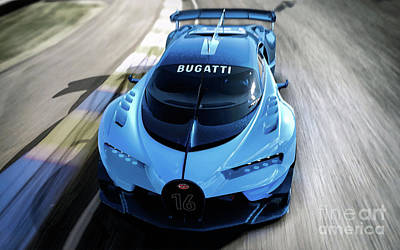 Digital Art - 2015 Bugatti Vision Gran Turismo. by Mohamed Elkhamisy