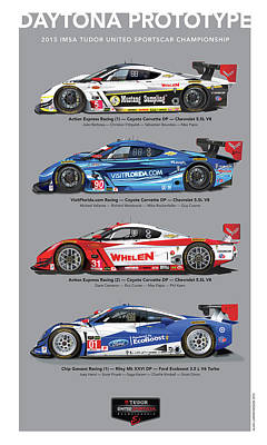 Digital Art - 2015 Daytona Prototype Poster by Alain Jamar